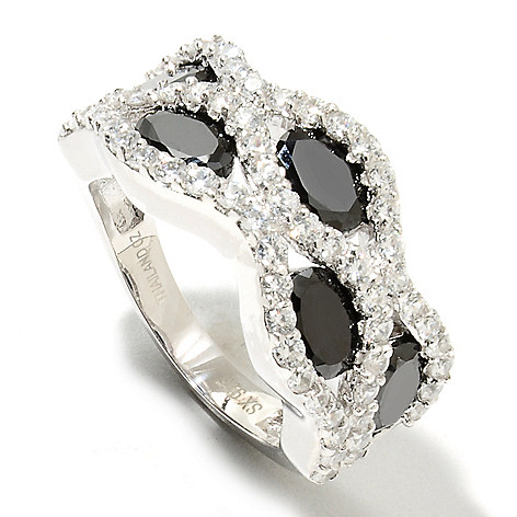 134-385 - Brilliante® Platinum Embraced™ 6.39 DEW Black & White Simulated Diamond Band Ring