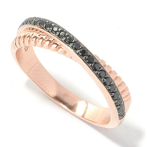 134-386 - Brilliante® Rose Gold Embraced™ Black Simulated Diamond Crossover Double Band Ring