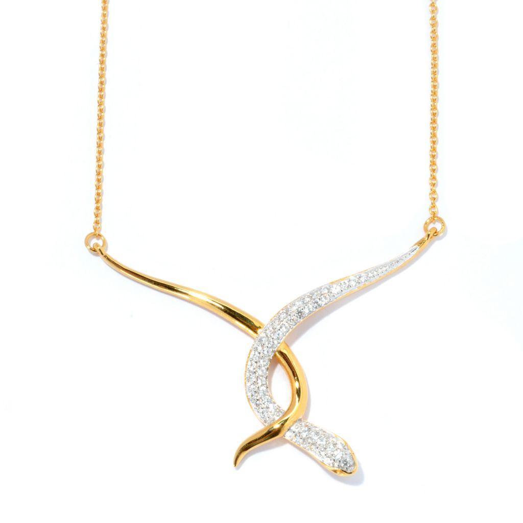 "134-388 - Brilliante® 18"" 1.56 DEW Simulated Diamond Intertwined Snake Necklace"