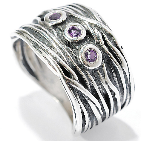 134-395 - Passage to Israel Sterling Silver Bezel Set Amethyst Three-Stone Textured Band Ring