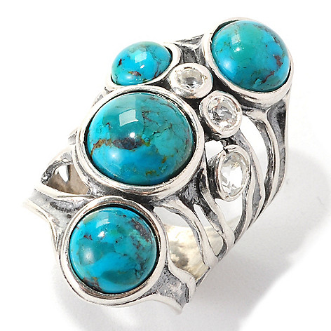 134-396 - Passage to Israel™ Sterling Silver Round Gemstone & White Topaz Multi Band Ring