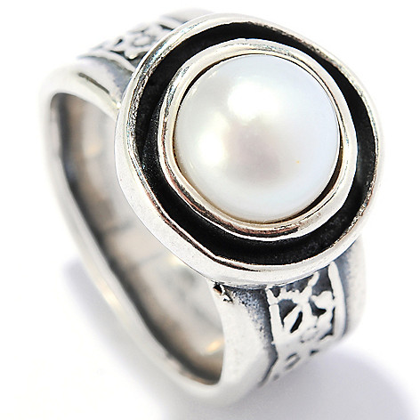 134-397 - Passage to Israel Sterling Silver 8mm Freshwater Cultured Pearl Floral Shank Ring
