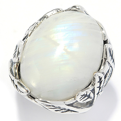 134-398 - Passage to Israel Sterling Silver 20 x 15mm Gemstone Overlapping Leaf Ring