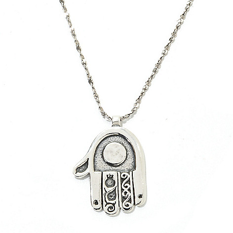 134-399 - Passage to Israel™ Sterling Silver 18'' Textured Hamsa Necklace, 6.8 grams