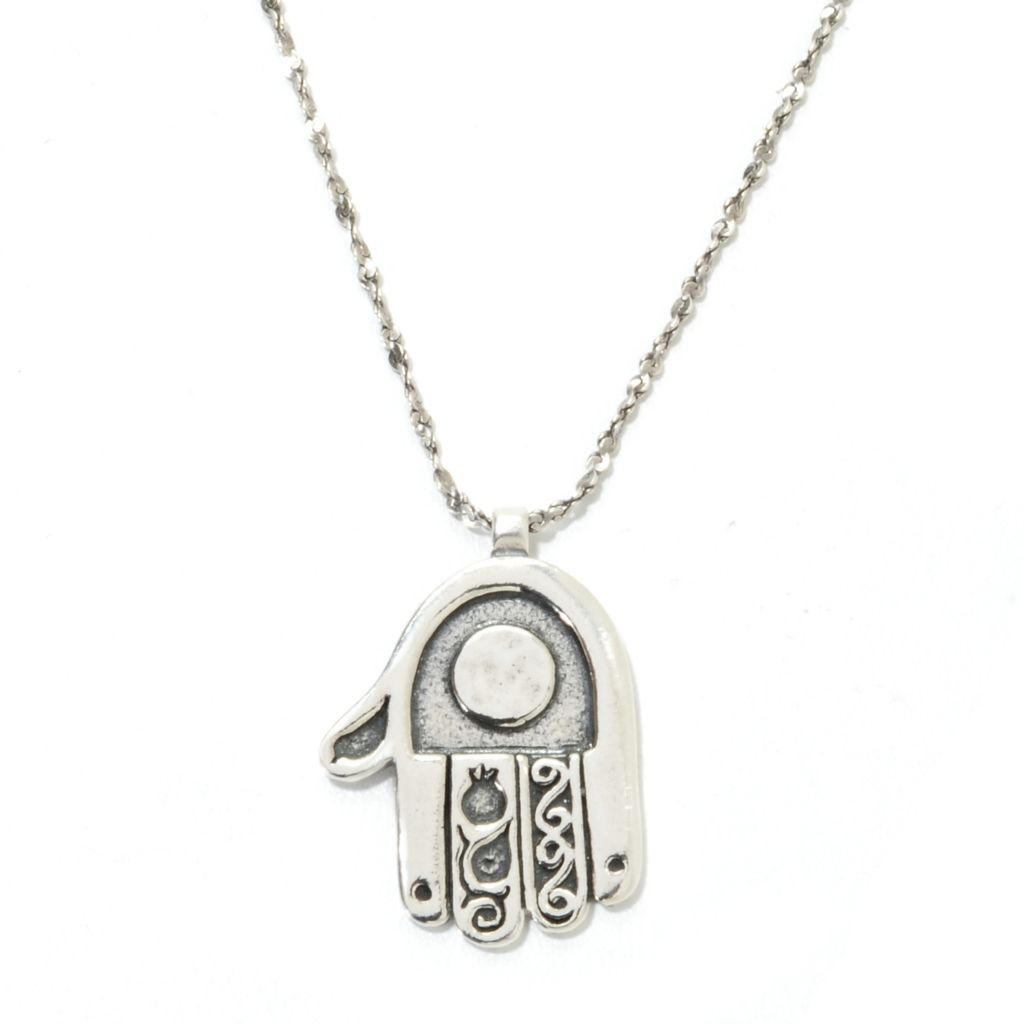 "134-399 - Passage to Israel Sterling Silver 18"" Textured Hamsa Necklace w/ 2"" Extender"