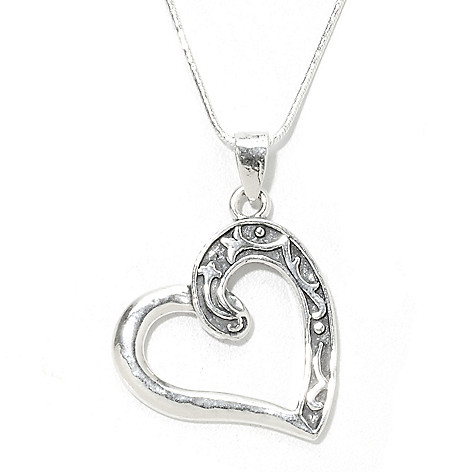 134-402 - Passage to Israel Sterling Silver Open Textured Heart Pendant w/ 18'' Chain