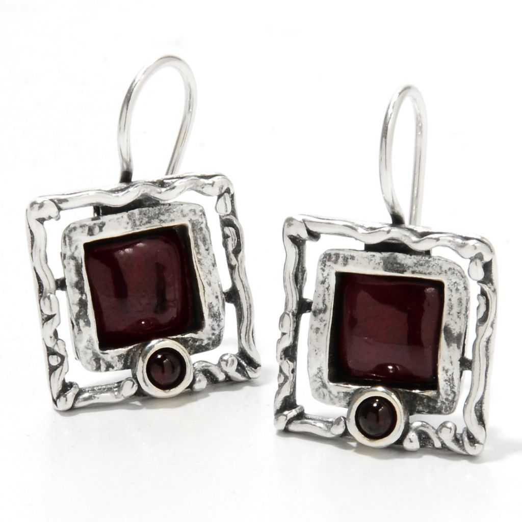 "134-405 - Passage to Israel Sterling Silver 1"" 8mm Gemstone Textured Square Drop Earrings"