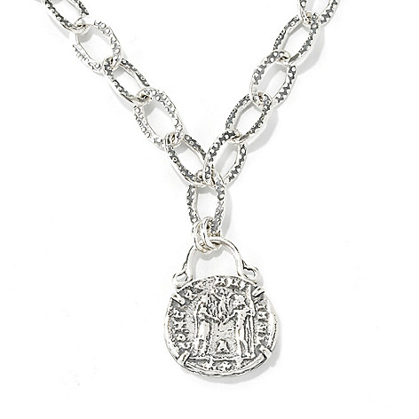134-408 - Passage to Israel Sterling Silver 18'' Textured Coin Replica Oval Link Necklace