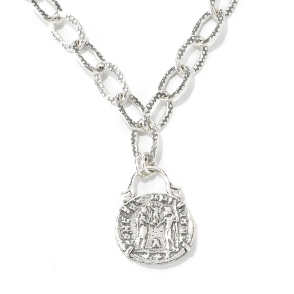 "134-408 - Passage to Israel Sterling Silver 18"" Coin Replica Oval Link Necklace, 31.6 grams"