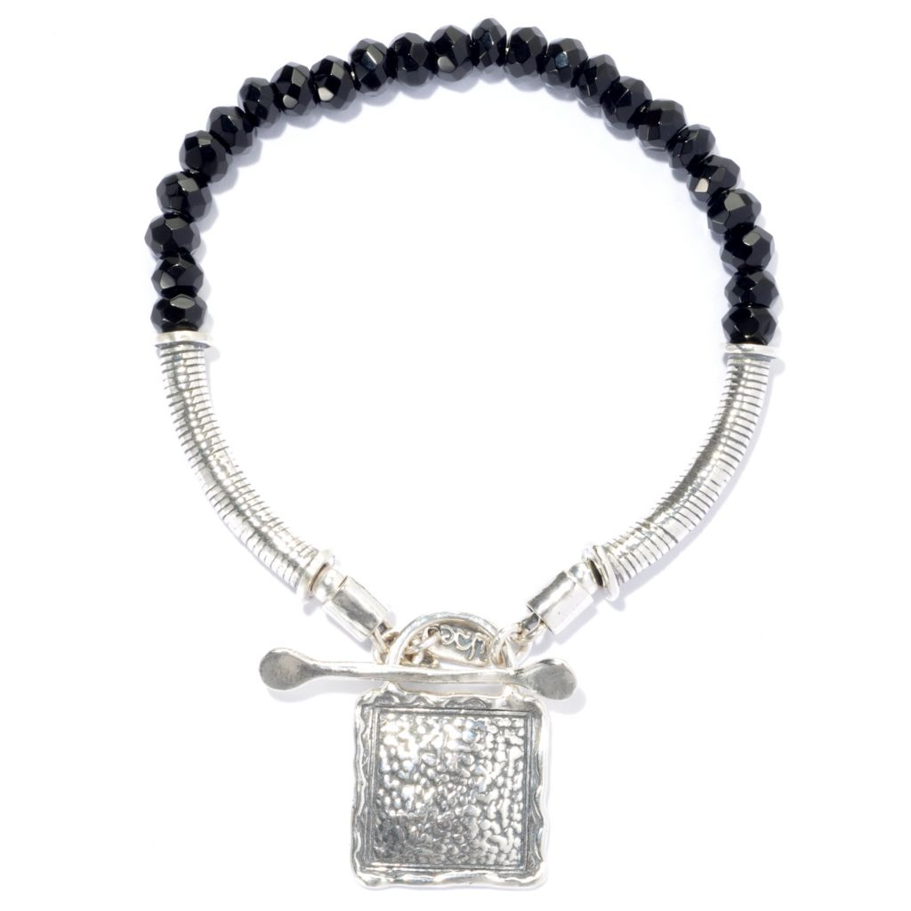 134-409 - Paassage to Israel Sterling Silver 6mm Black Agate Textured Square Toggle Bracelet