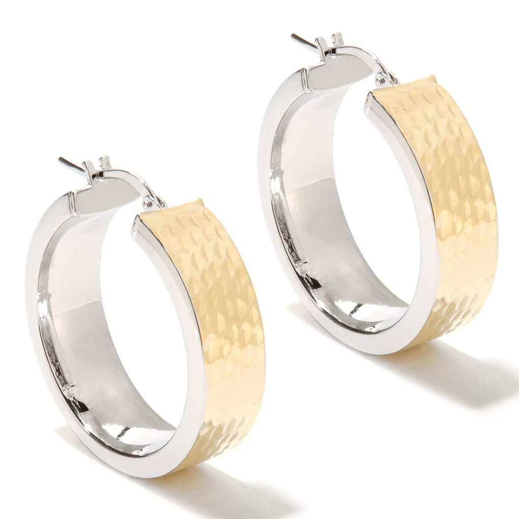 "134-420 - Scintilloro™ Gold Embraced™ 1"" Two-tone Diamond Cut Hoop Earrings"