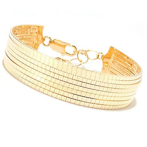 134-422 - Portofino 18K Gold Embraced™ 7.5'' Diamond Cut Multi Strand Cubetto Bracelet