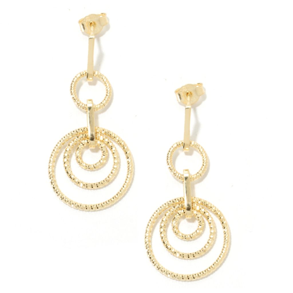 "134-426 - Scintilloro™ Gold Embraced™ 1.5"" Diamond Cut Disk Station Dangle Earrings"