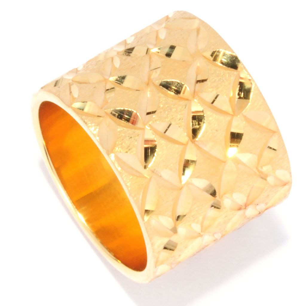 134-429 - Portofino 18K Gold Embraced™ Diamond Cut Petal Motif Cigar Band Ring