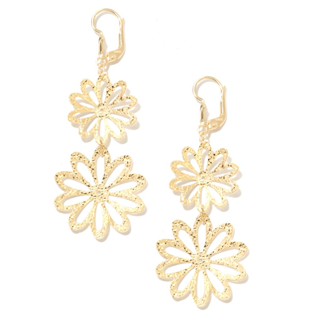 "134-430 - Scintilloro™ Gold Embraced™ 2.5"" Diamond Cut Double Drop Flower Earrings"