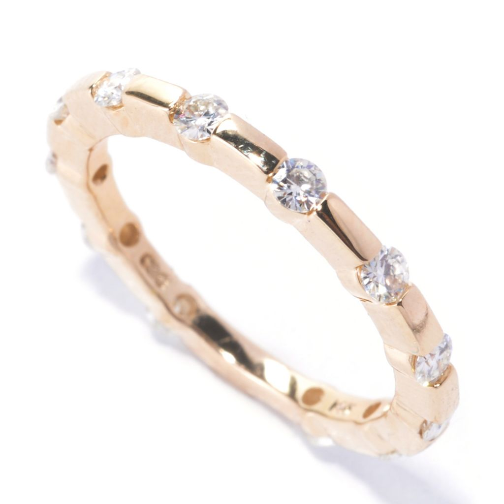 134-441 - Forever Brilliant® Moissanite 14K Gold Tension Set Eternity Band Ring