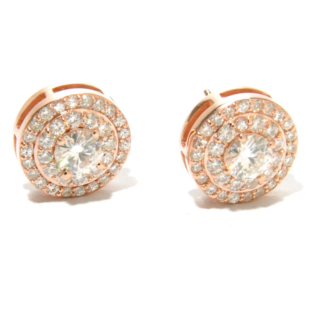 134-448 - Forever Brilliant® Moissanite 14K Gold 1.92 DEW Round Double Halo Stud Earrings