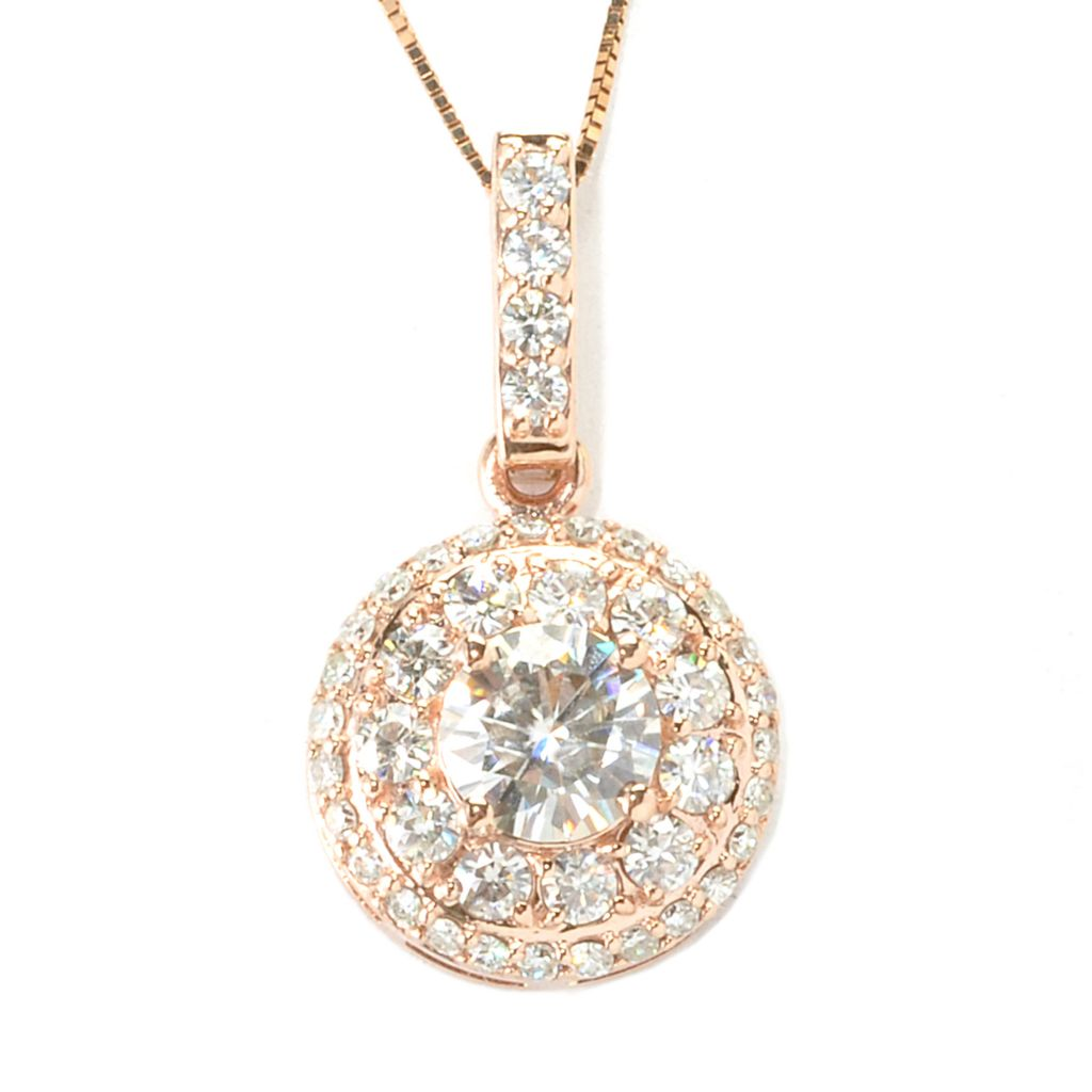 134-453 - Forever Brilliant® Moissanite 14K Gold 1.82 DEW Double Halo Pendant w/ Chain