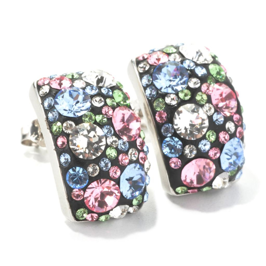 134-457 - Adaire™ Sterling Silver Rectangle Stud Earrings Made w/ Swarovski® Elements