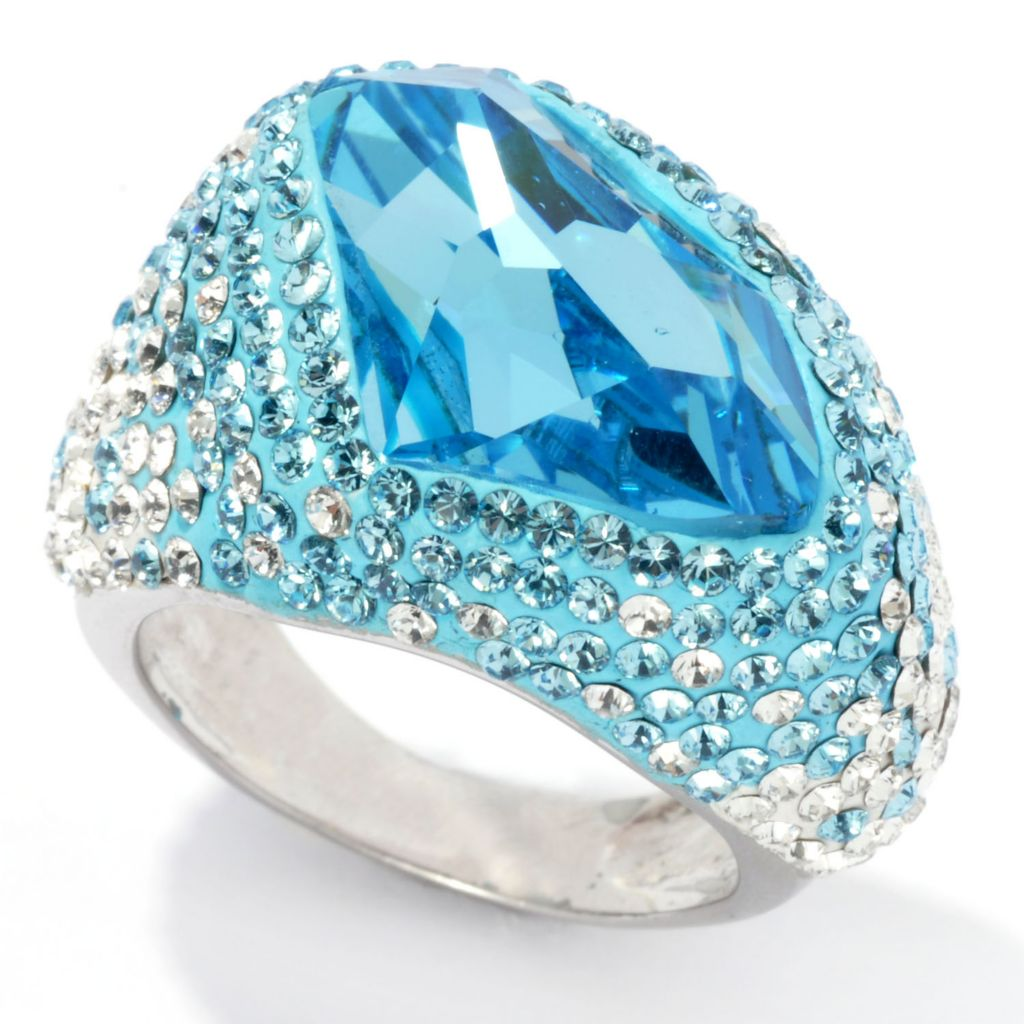 134-458 - Adaire™ Sterling Silver Irregular Shaped Ombre Ring Made w/ Swarovski® Elements
