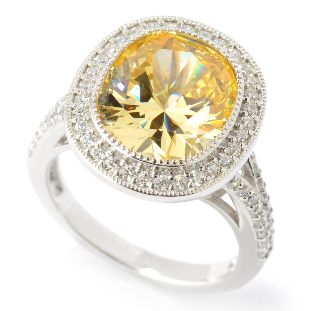 134-463 - Brilliante® Platinum Embraced™ 6.00 DEW Oval Simulated Canary Diamond Halo Ring