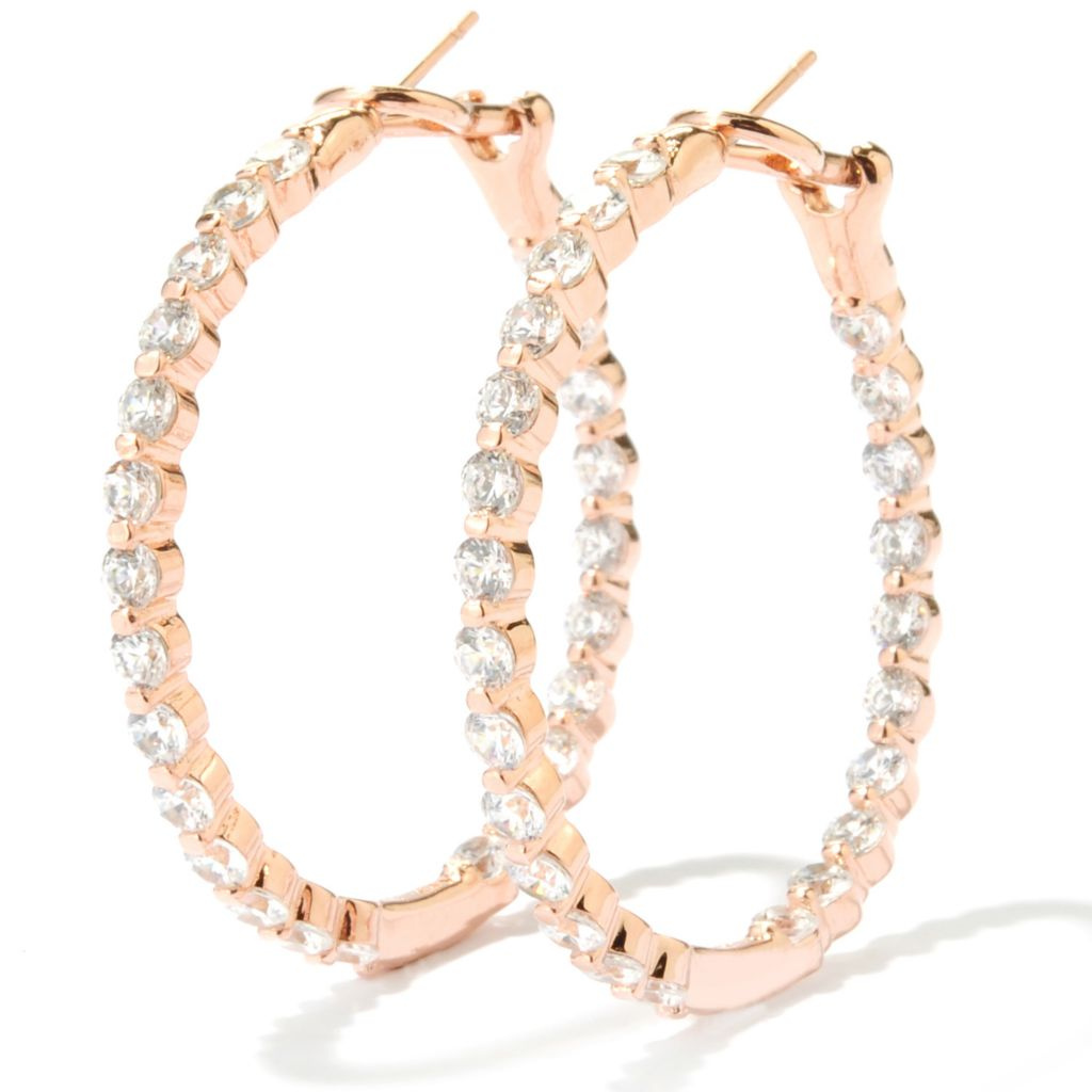 "134-464 - Brilliante® 1.5"" 4.08 DEW Simulated Diamond Inside-Out Hoop Earrings w/ Omega Backs"