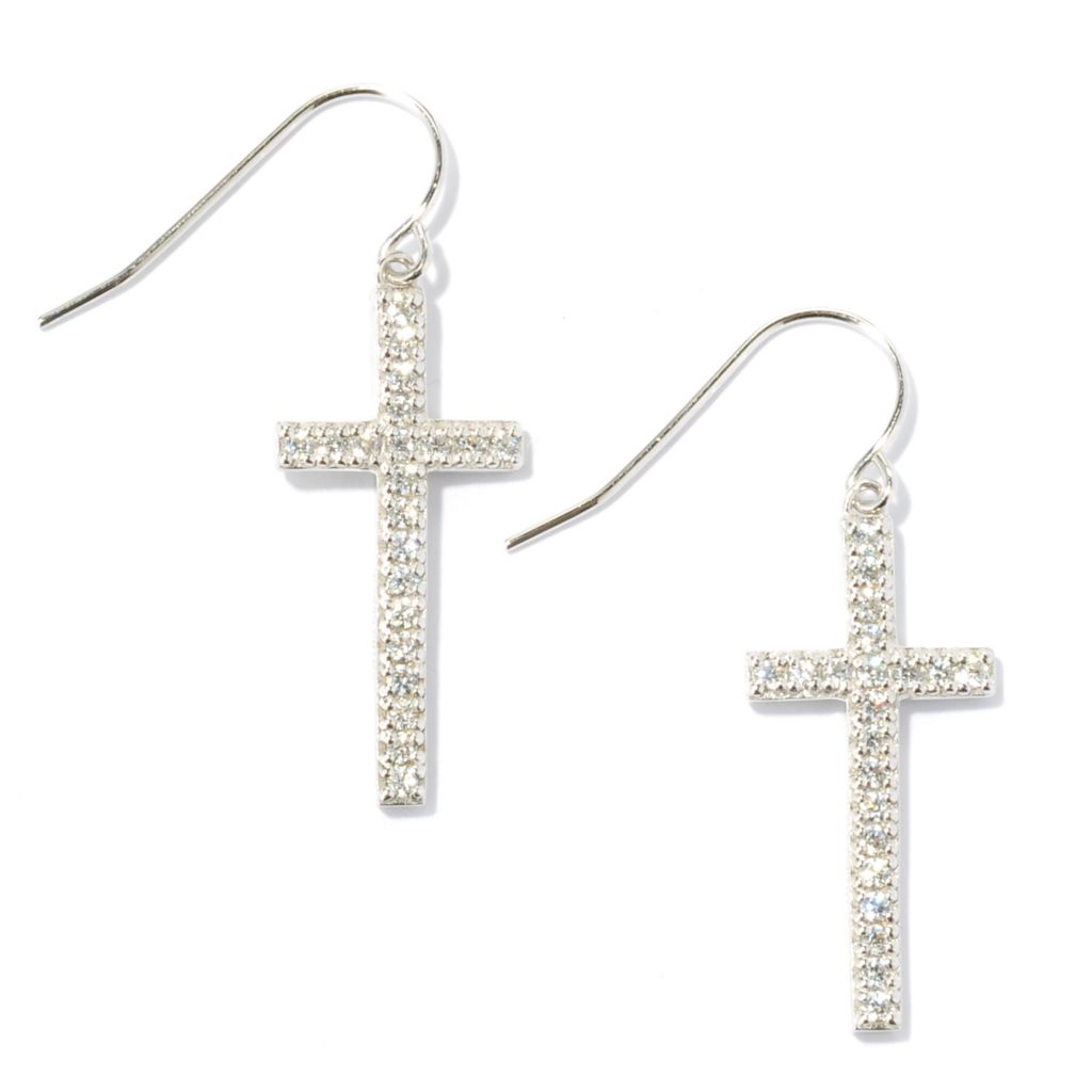 "134-465 - Brilliante® 1.25"" Platinum Embraced™ Simulated Diamond Round Cut Cross Dangle Earrings"