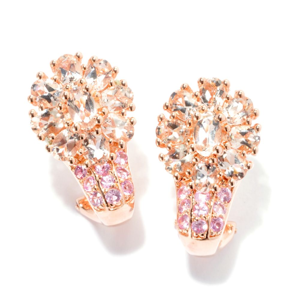 134-467 - NYC II 3.09ctw Morganite & Pink Sapphire Flower Earrings w/ Omega Backs