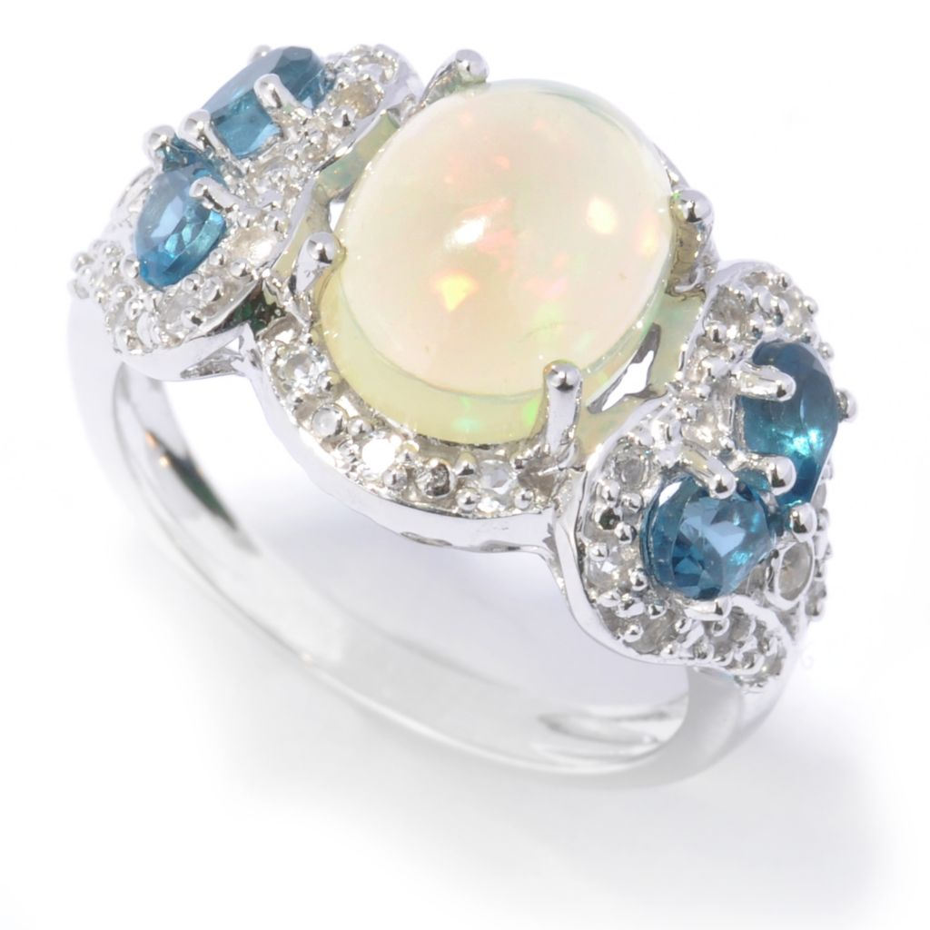 134-468 - NYC II 10 x 8mm Oval Ethiopian Opal, London Blue Topaz & White Topaz Ring