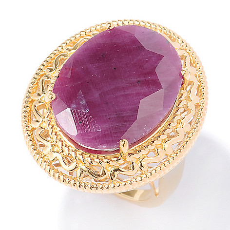 134-471 - NYC II 20 x 15mm Oval Indian Ruby Scrollwork Ring