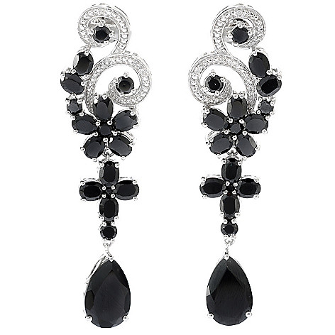 134-473 - NYC II 2.25'' 19.81ctw Black Spinel & White Zircon Flower Drop Earrings