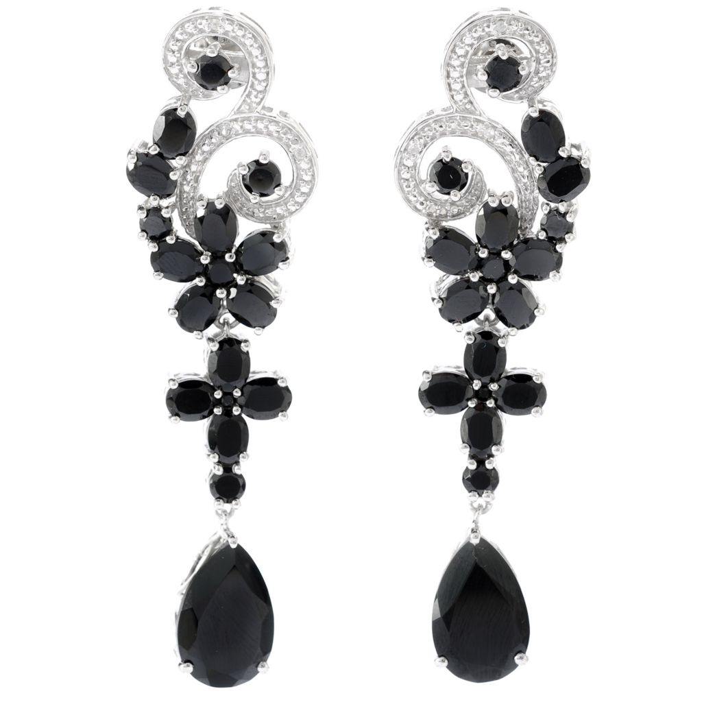 "134-473 - NYC II 2.25"" 19.81ctw Black Spinel & White Zircon Flower Drop Earrings"