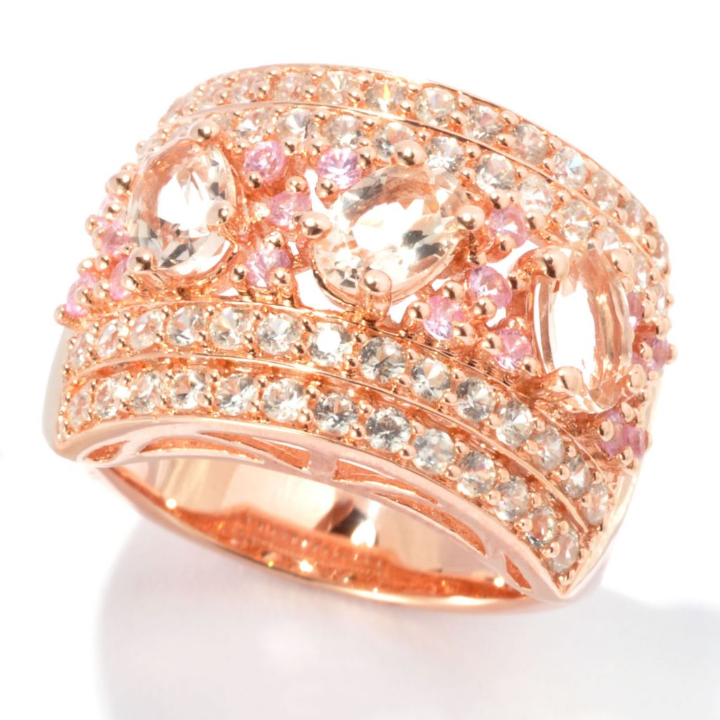 134-475 - NYC II 2.46ctw Morganite, Pink Sapphire & White Zircon Cigar Band Ring