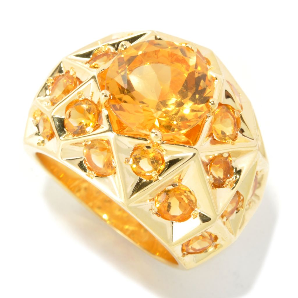 134-477 - NYC II 6.09ctw Citrine Geometric Dome Ring