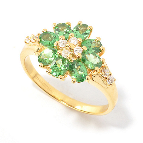 134-483 - NYC II Oval Gemstone & White Zircon Flower Ring