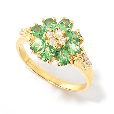 134-483 - NYC II Oval Gemstone & White Zircon Flower Ring