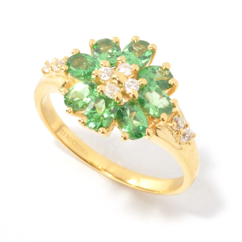 134-483 - NYC II 1.60ctw Oval Tsavorite & White Zircon Flower Ring