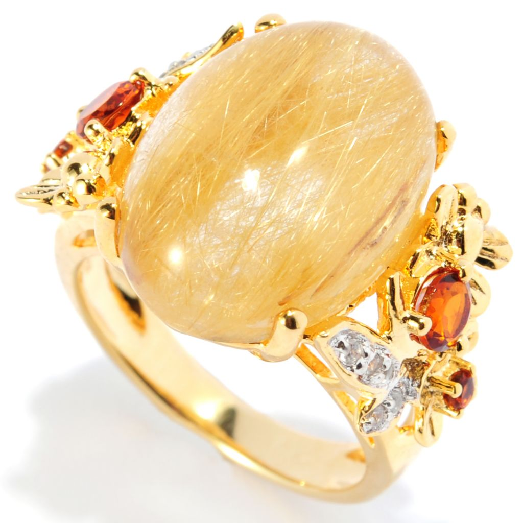 134-484 - NYC II 18 x 13mm Rutilated Quartz, Citrine & Diamond Ring