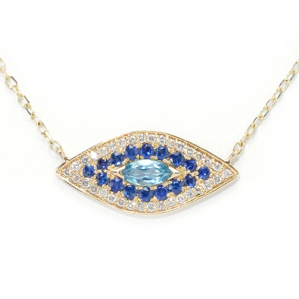134-487 - Beverly Hills Elegance 14K Gold Diamond & Multi Gemstone Necklace