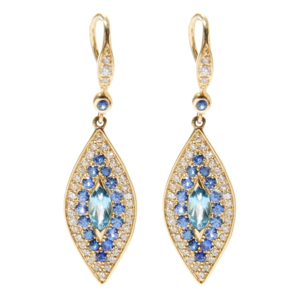 "134-488 - Beverly Hills Elegance 14K Gold 1.5"" Diamond & Multi Gem Evil Eye Drop Earrings"