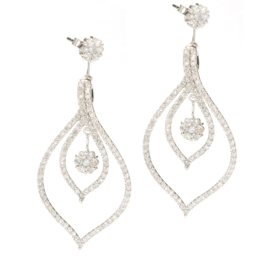 "134-489 - Beverly Hills Elegance 1.75"" 14K White Gold 2.00ctw Diamond Drop Earrings"