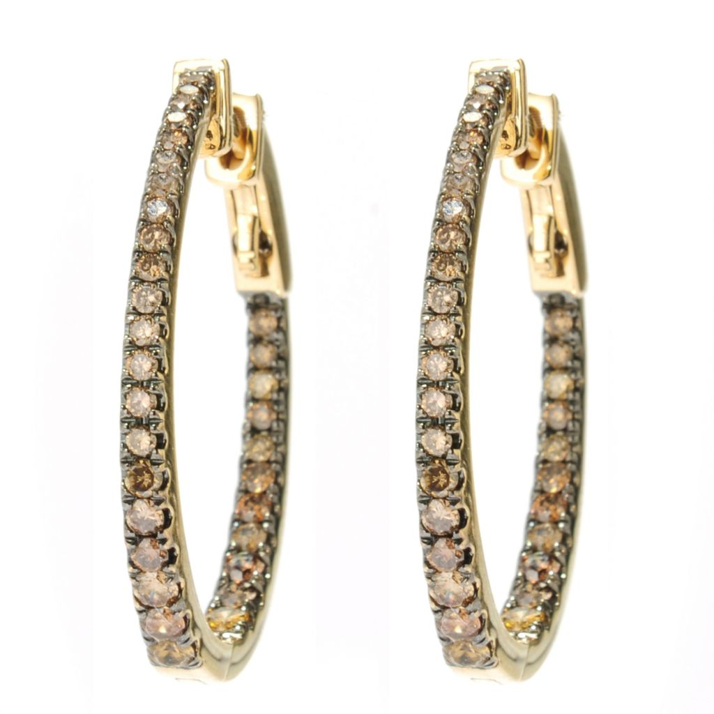 "134-492 - Beverly Hills Elegance 14K Gold 1"" 1.00ctw Diamond Oval Hoop Earrings"
