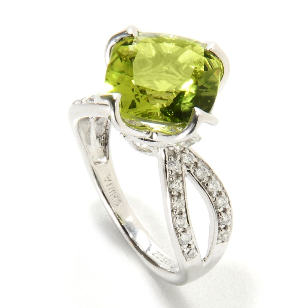 134-496 - Brilliante® Platinum Embraced™ 3.21 DEW Cushion Cut Simulated Peridot Split Shank Ring