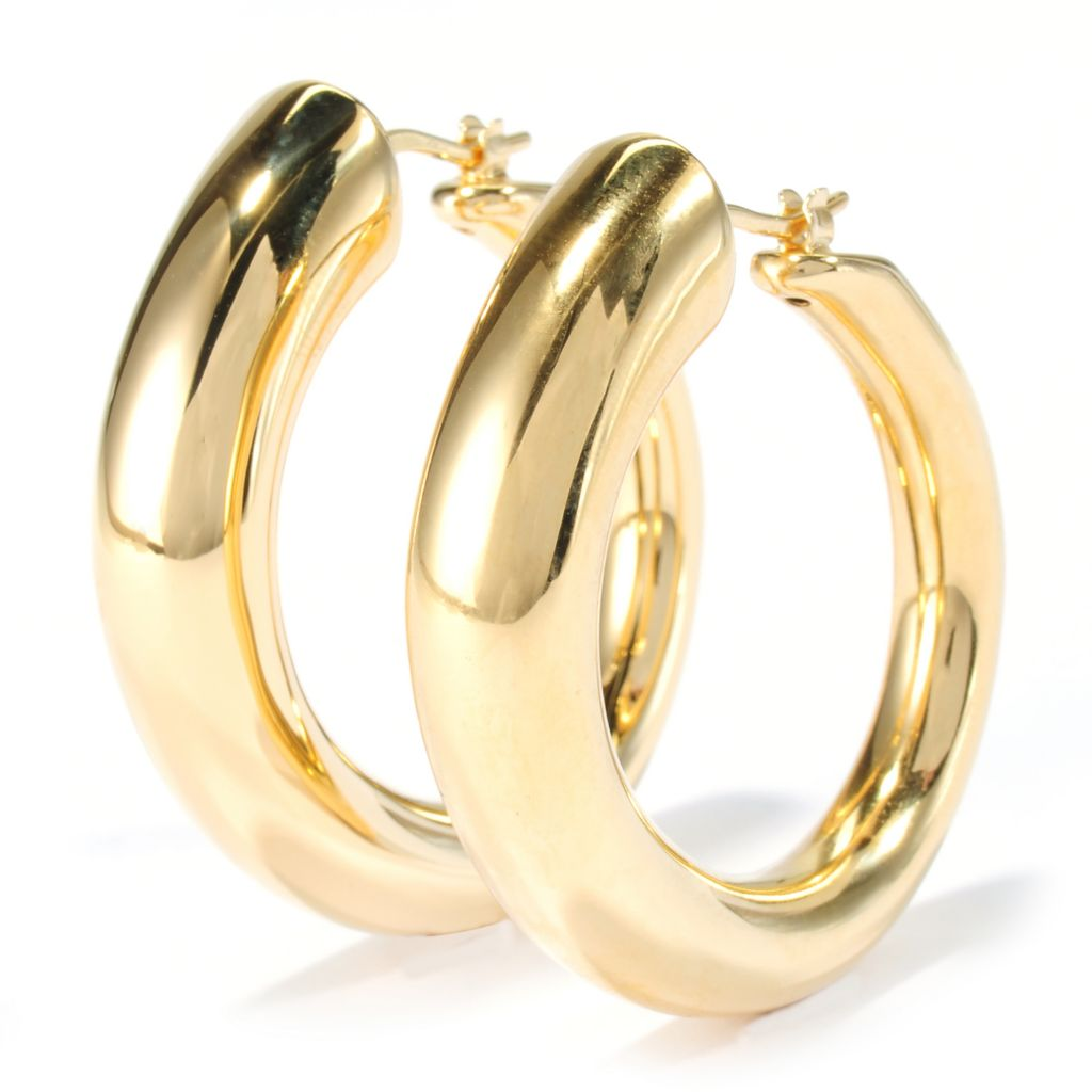 "134-497 - Portofino 18K Gold Embraced™ 1.5"" High Polished Hoop Earrings"