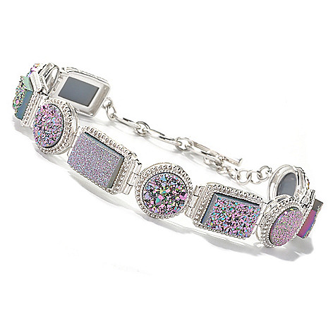 134-498 - Gem Insider Sterling Silver 7'' Rectangular & Round Drusy Toggle Bracelet