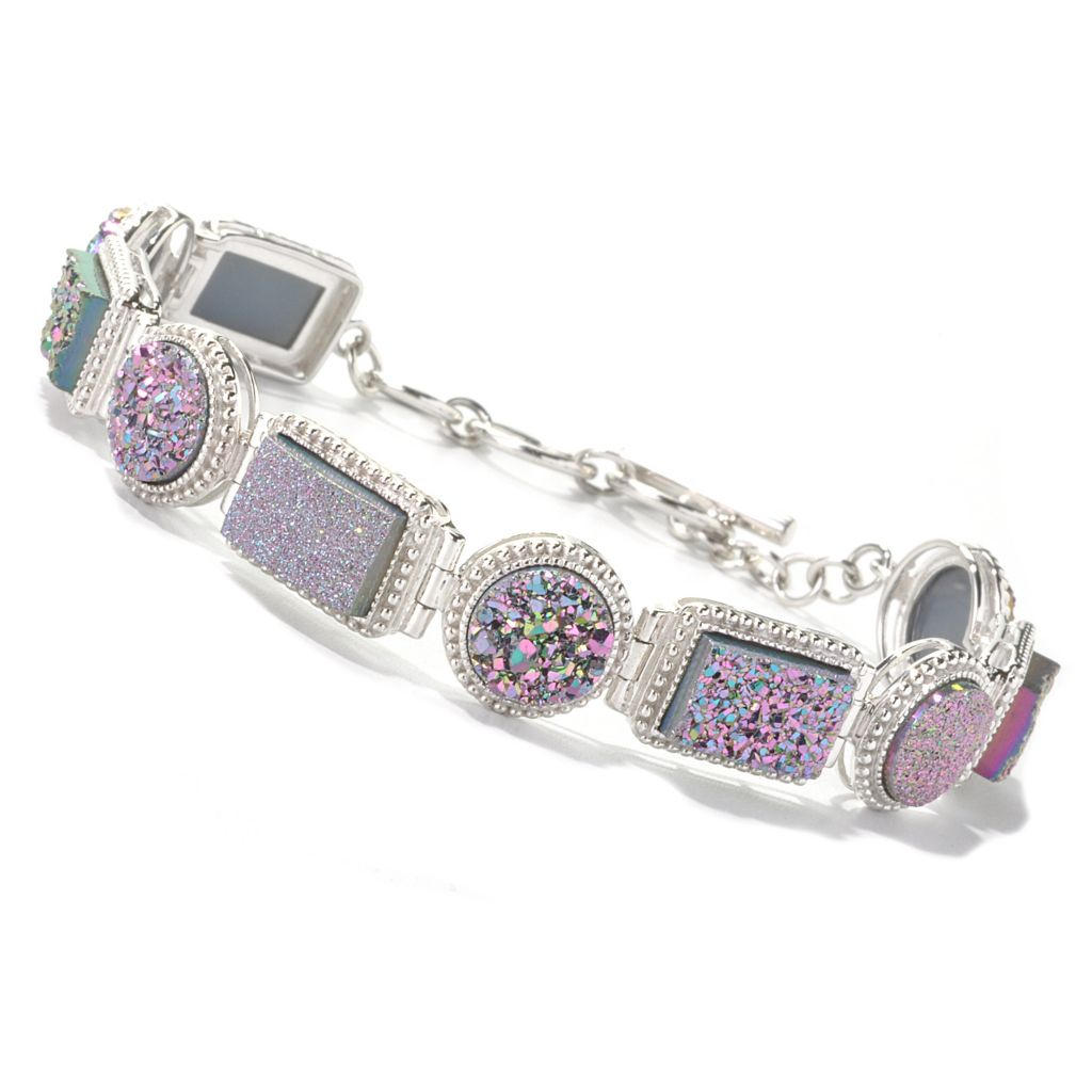 "134-498 - Gem Insider Sterling Silver 7"" Rectangular & Round Drusy Toggle Bracelet"