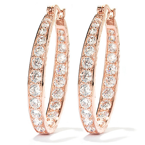 134-507 - Brilliante® 1.5'' 7.10 DEW Simulated Diamond Inside-Out Oval Hoop Earrings