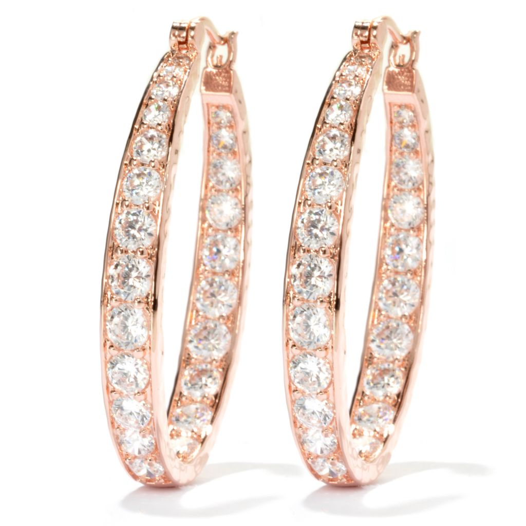 "134-507 - Brilliante® 1.5"" 7.10 DEW Simulated Diamond Inside-Out Oval Hoop Earrings"