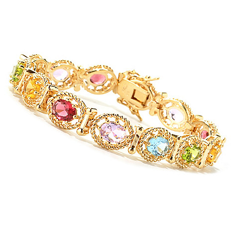 134-513 - Brilliante® 18K Gold Embraced™ Oval Multi Color Simulated Gemstone Line Bracelet