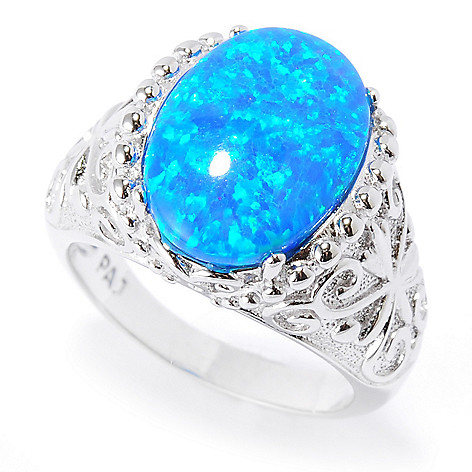 134-514 - Brilliante® Platinum Embraced™ 14 x 10mm Simulated Blue Opal Ring